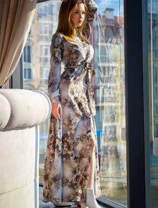 Длинное платье на длинный рукав на работу