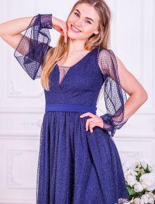 Коктейльное короткое синее платье с открытым рукавом