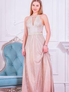 Длинное нарядное золотое платье в пол