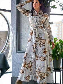 Длинное платье рубашка на длинный рукав в цветочный принт