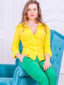 Рубашка классическая желтая с длинным рукавом