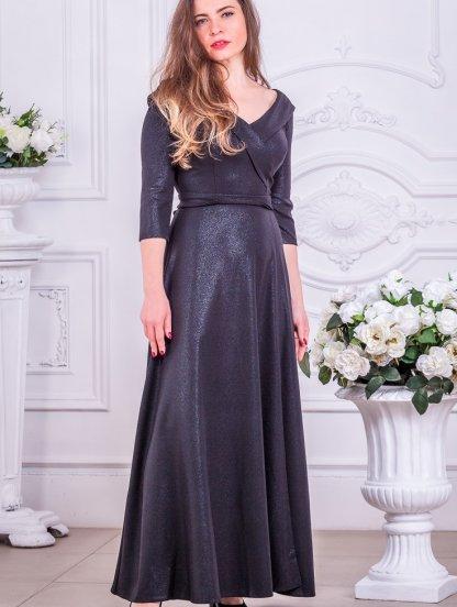 Вечернее черное длинное платье для полных и с рукавом 3/4, фото 1
