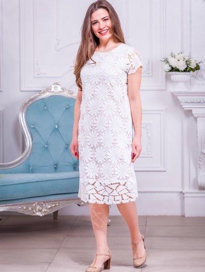 Кружевное платье без рукавов с цвкточной вышивкой кружевами, фото 1