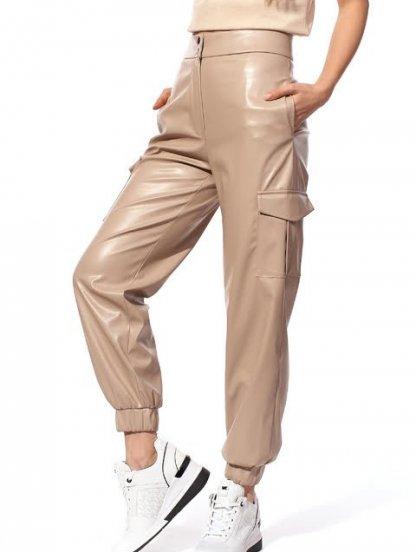 Светлые облегающие кожаные брюки с высокой талией, фото 1