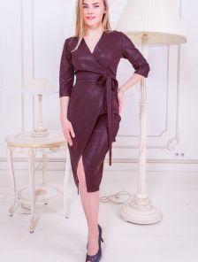 Вечернее женское платье с имитацией запаха и рукавом 3\4