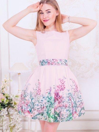 Розовое короткое платье с пышной юбкой и цветочным принтом, фото 1