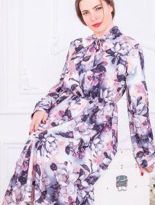 Нарядное серое платье миди с цветами на длинный рукав