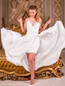 Вечернее кружевное белое платье со съемной пышной юбкой