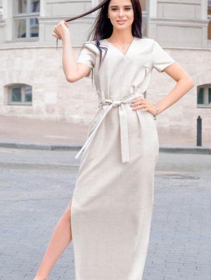 Платье для лета молочного цвета из льна, фото 1