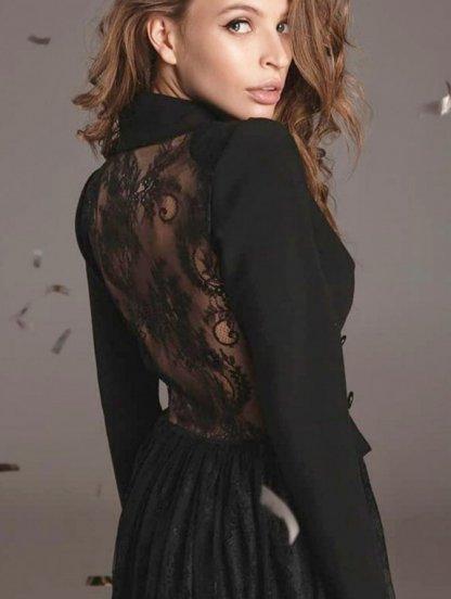 Женское черное вечернее кружевное нарядное платье, фото 1