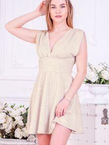 Блестящее мини платье с завышенной талией без рукава