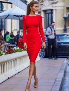 Бордовое платье карандаш на на длинный рукав