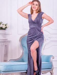 Длинное нарядное блестящее синее платье с разрезом на выпускной