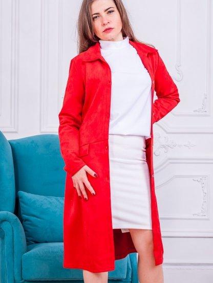 Красное платье кардиган на пуговицах, фото 1