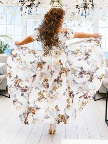 Длинное летнее платье сарафан большого размера на бретелях на запах