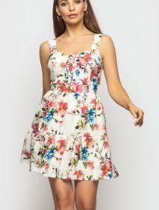 Летнее яркое короткое платье сарафан