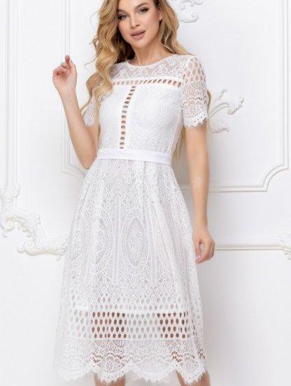 Белое короткое кружевное платье большого размера, фото 1