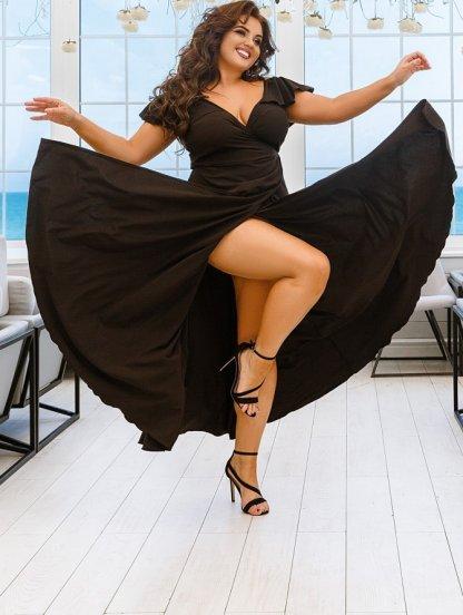 Черное длинное платье большого размера, фото 1
