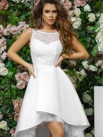 Нарядное белое платье с ассиметрией, фото 1