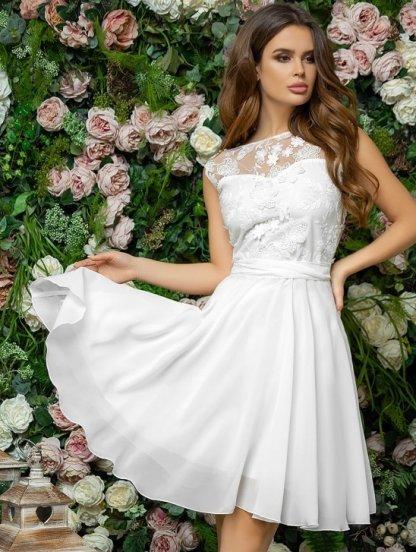 Короткое белое летнее нарядное платье из шифона, фото 1