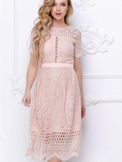 Бежевое короткое кружевное платье большого размера, фото 1
