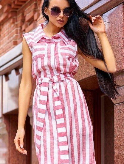 Платье рубашка из льна в красную полоску длины миди с карманами под пояс, фото 1