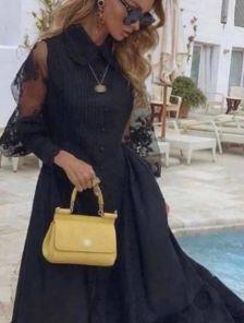 Летнее длинное черное нарядное платье в пол под кеды или кроссовки
