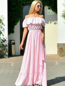 Розовое длинное платье на лето из летнего софта