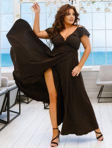 Черное длинное платье большого размера
