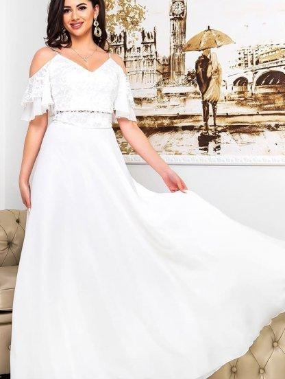 Изысканное нарядное платье костюм белого цвета на короткий рукав, фото 1