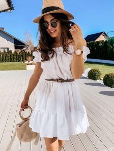 Короткое белое хлопковое платье на лето под кеды или шлепанци