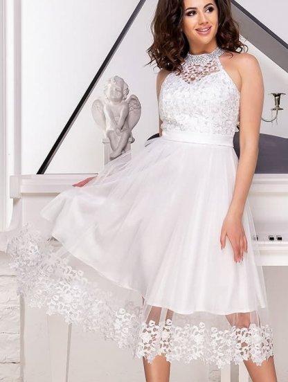Белое короткое кружевное платье для невесты, фото 1