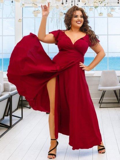 Длинное летнее бордовое платье на бретелях на запах, фото 1