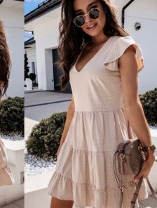 Короткое легкое свободное платье на лето
