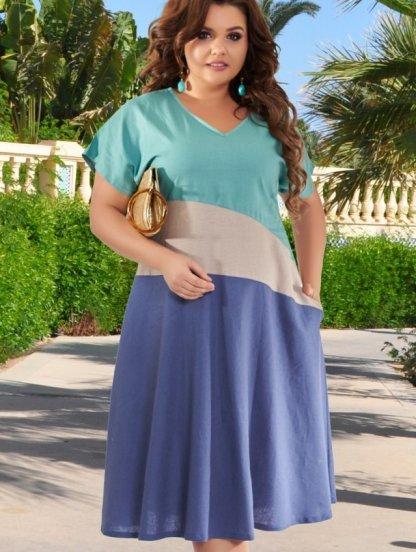Натуральное легкое платье на лето на работу для больших женщин, фото 1
