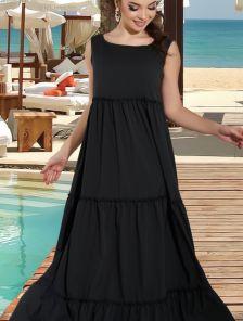 Черное длинное платье в пол на лето