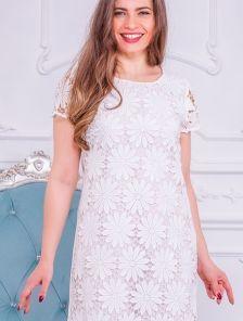 Кружевное платье без рукавов с цвкточной вышивкой кружевами