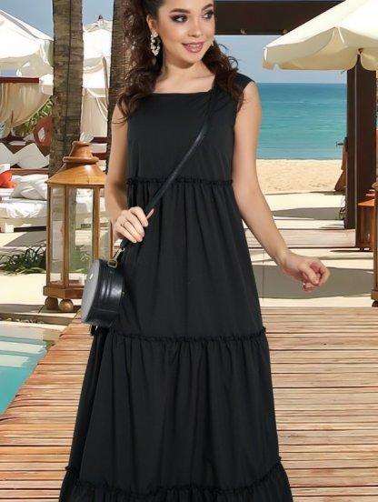 Черное длинное платье в пол на лето, фото 1