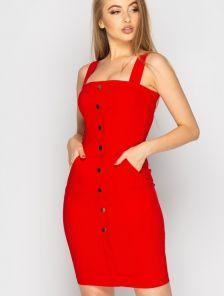 Красное облегающее платье футляр до колен на лето