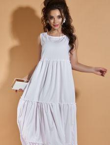 Легкое белое длинное платье на лето