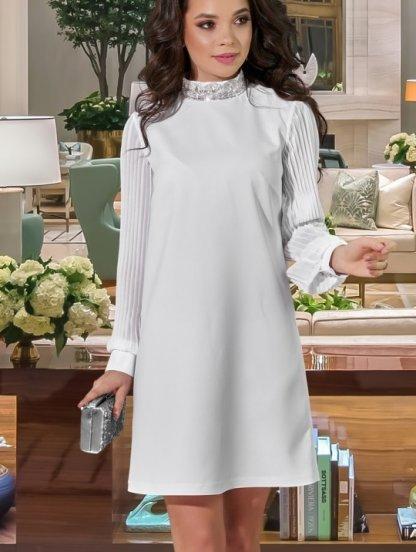 Короткое белое свободное платье, фото 1