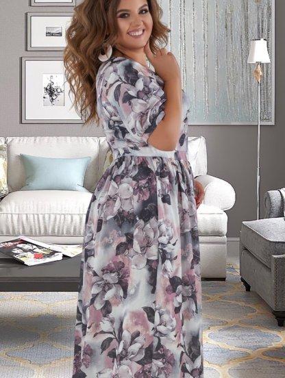 Длинное летнее светлое платье большого размера с коротким рукавом на лето, фото 1