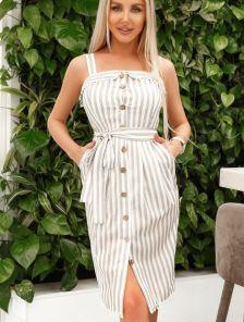 Короткое льняное летнее платье в полоску на пуговицах