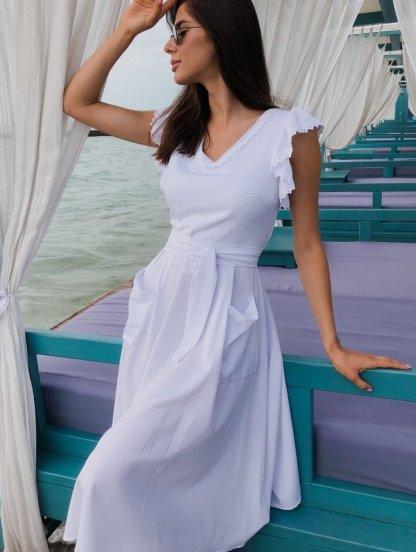 Белое летнее платье миди с кружевом и карманами, фото 1