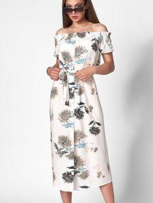 Летнее белое короткое платье с цветочным принтом на пуговицах