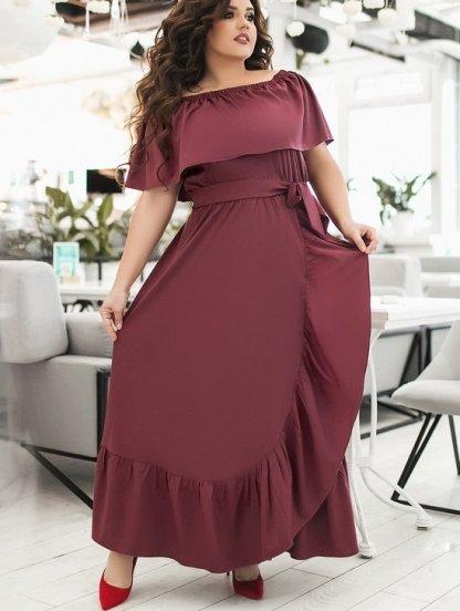 Бордовое длинное летнее платье большого размера с воланом и оборкой, фото 1