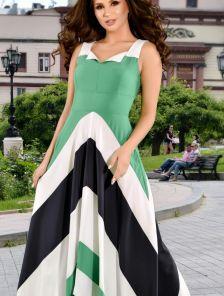 Летнее длинное расклешенное платье в полоску с карманами