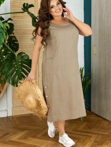 Короткое светлое свободное платье из льна большого размера