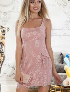 Светлое летнее коктейльное короткое кружевное платье