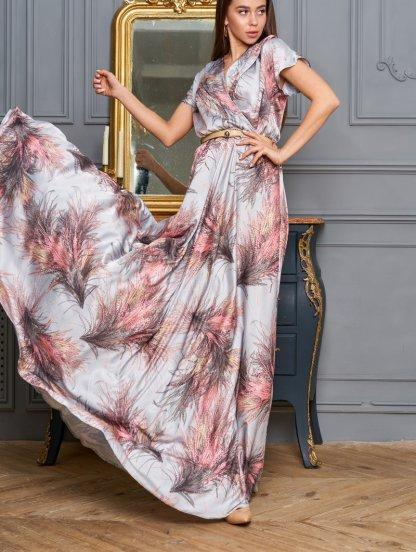 Длинное платье с цветочным принтом на короткий рукав, фото 1
